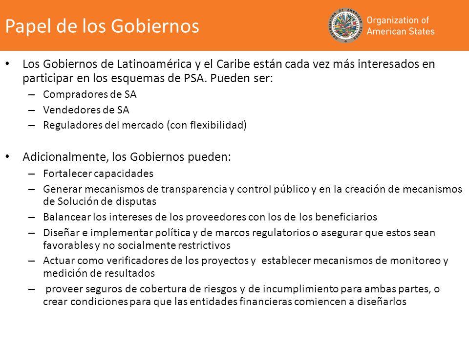 Papel de los GobiernosLos Gobiernos de Latinoamérica y el Caribe están cada vez más interesados en participar en los esquemas de PSA. Pueden ser: