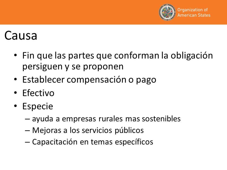 CausaFin que las partes que conforman la obligación persiguen y se proponen. Establecer compensación o pago.