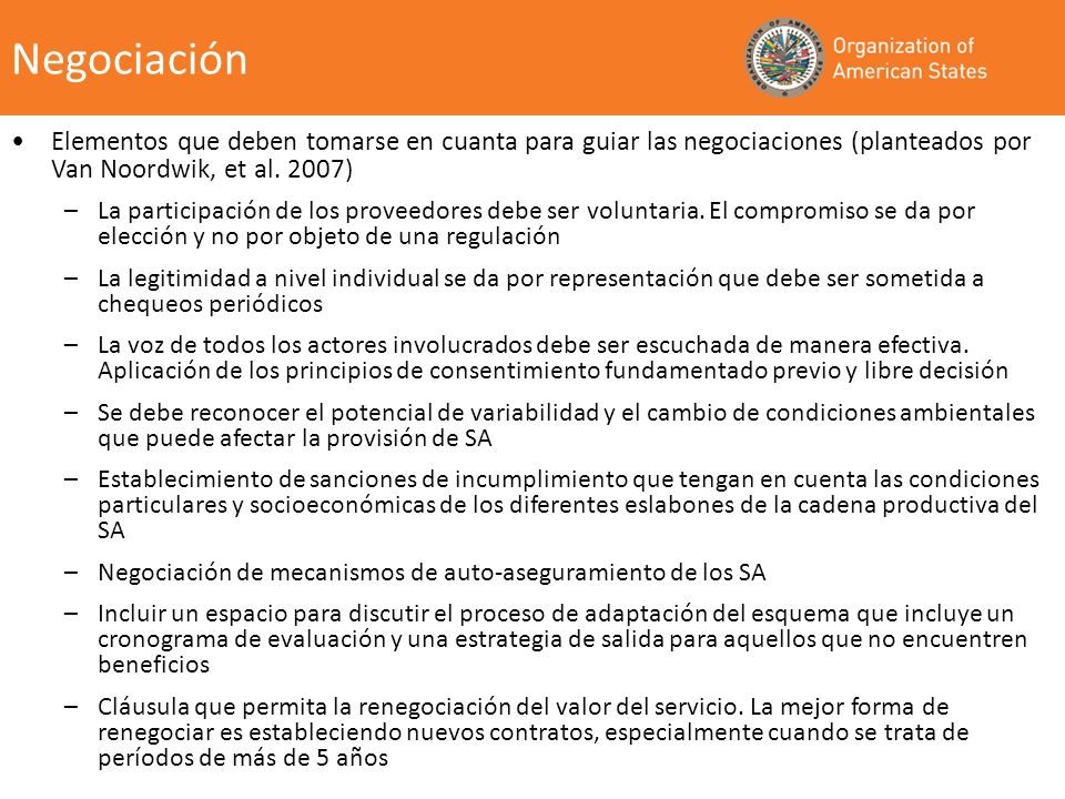 Negociación Elementos que deben tomarse en cuanta para guiar las negociaciones (planteados por Van Noordwik, et al. 2007)