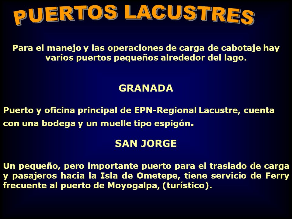 PUERTOS LACUSTRES GRANADA SAN JORGE