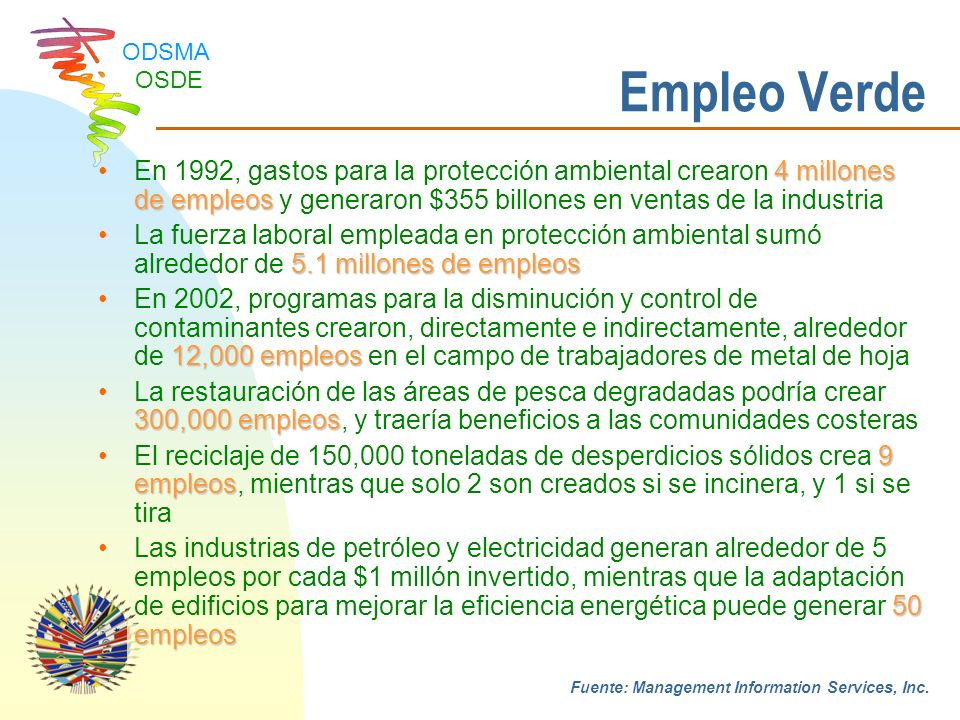 Empleo Verde En 1992, gastos para la protección ambiental crearon 4 millones de empleos y generaron $355 billones en ventas de la industria.