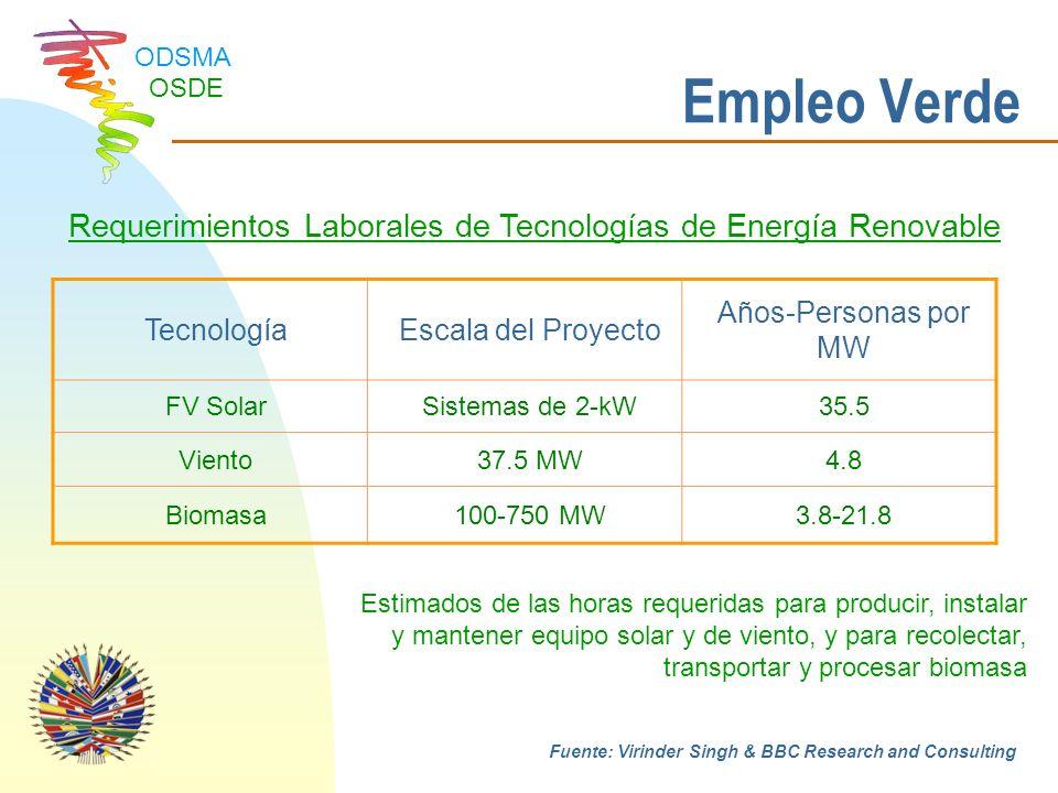 Requerimientos Laborales de Tecnologías de Energía Renovable