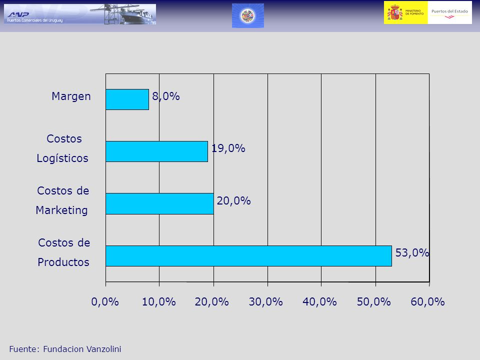 53,0% 20,0% 19,0% 8,0% 0,0% 10,0% 30,0% 40,0% 50,0% 60,0% Costos de. Productos. Marketing.