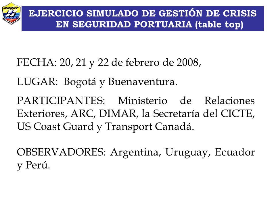 LUGAR: Bogotá y Buenaventura.