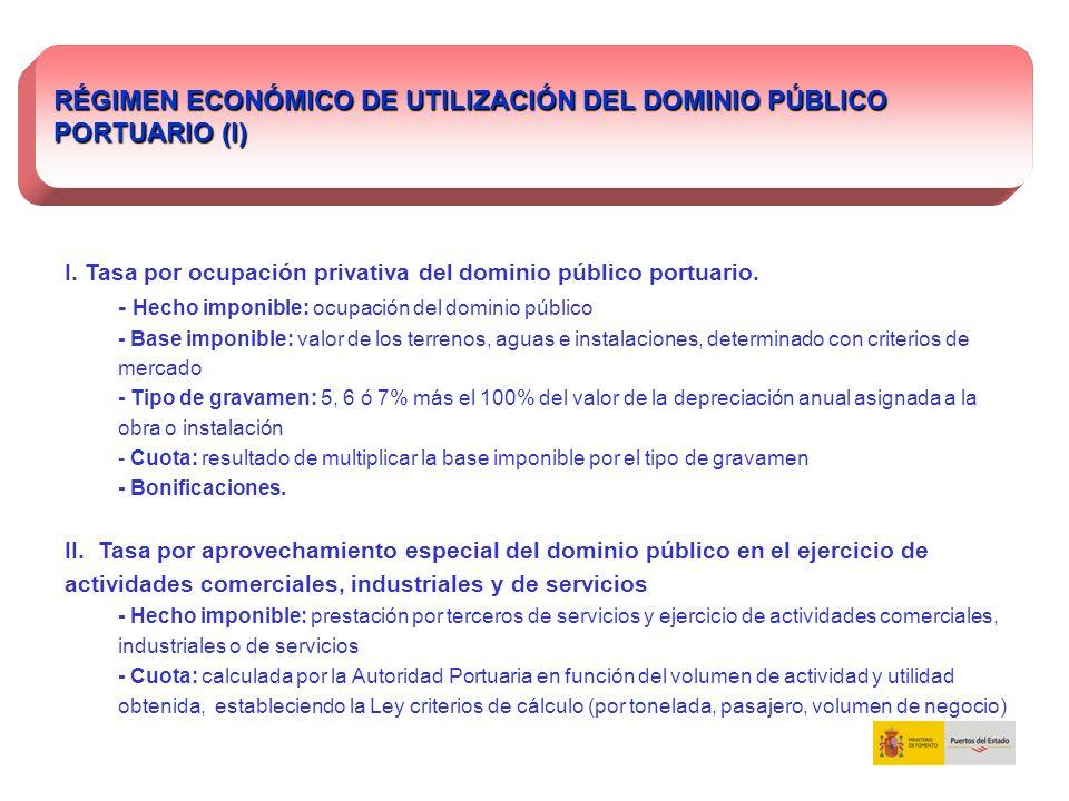 RÉGIMEN ECONÓMICO DE UTILIZACIÓN DEL DOMINIO PÚBLICO PORTUARIO (I)