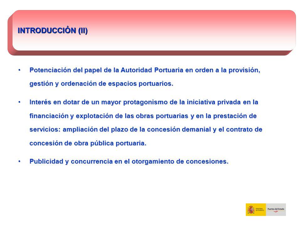 INTRODUCCIÓN (II) Potenciación del papel de la Autoridad Portuaria en orden a la provisión, gestión y ordenación de espacios portuarios.
