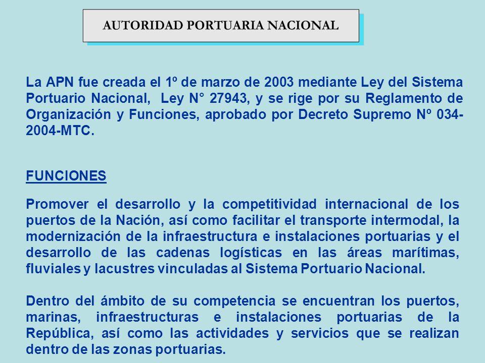 La APN fue creada el 1º de marzo de 2003 mediante Ley del Sistema Portuario Nacional, Ley N° 27943, y se rige por su Reglamento de Organización y Funciones, aprobado por Decreto Supremo Nº 034-2004-MTC.