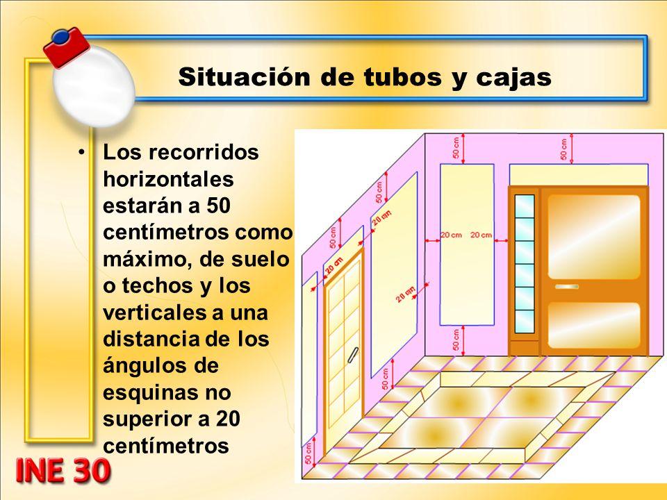 Situación de tubos y cajas