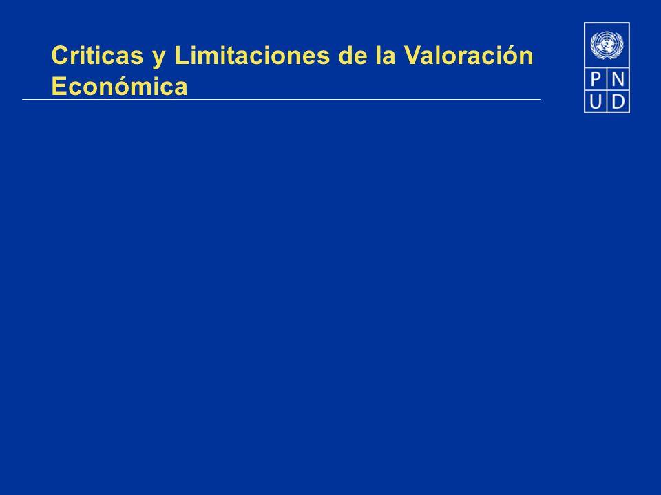 Criticas y Limitaciones de la Valoración Económica