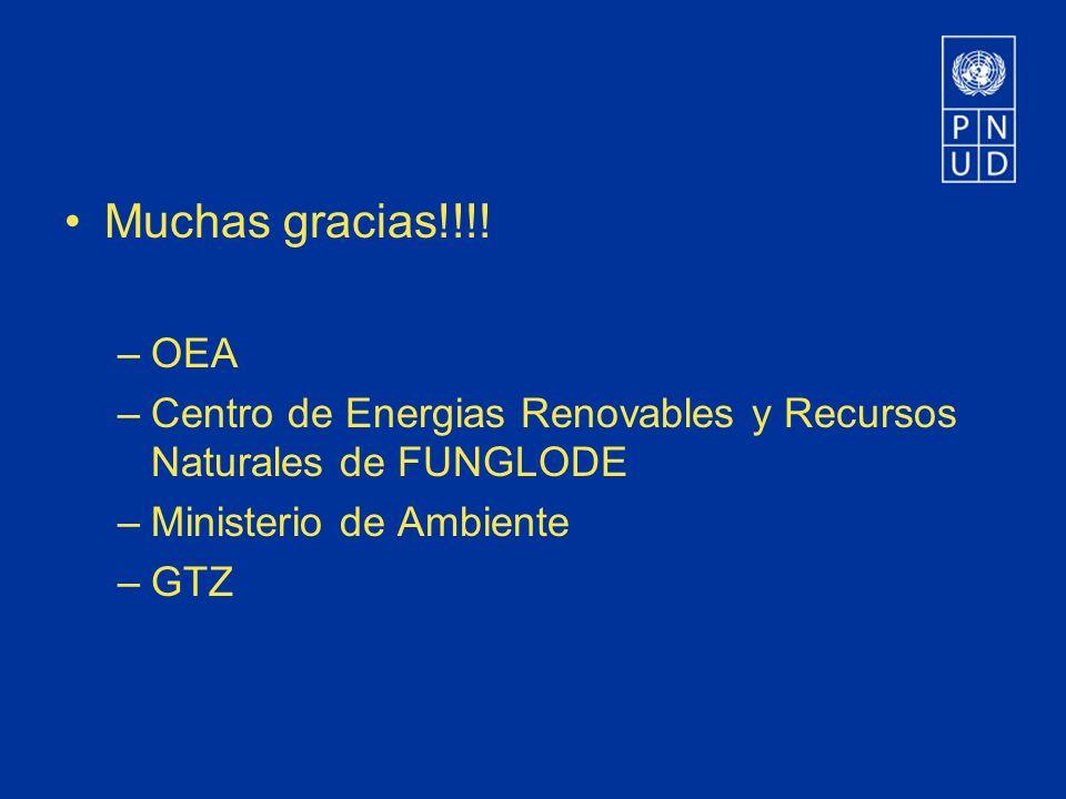 Muchas gracias!!!! OEA. Centro de Energias Renovables y Recursos Naturales de FUNGLODE. Ministerio de Ambiente.