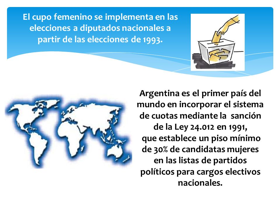 políticos para cargos electivos nacionales.