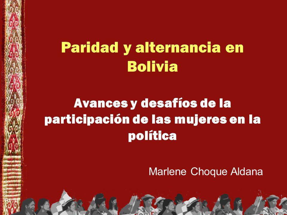 Paridad y alternancia en Bolivia Avances y desafíos de la participación de las mujeres en la política