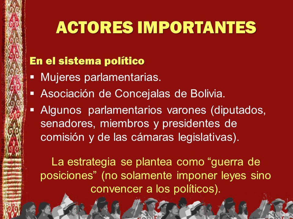 ACTORES IMPORTANTES En el sistema político Mujeres parlamentarias.