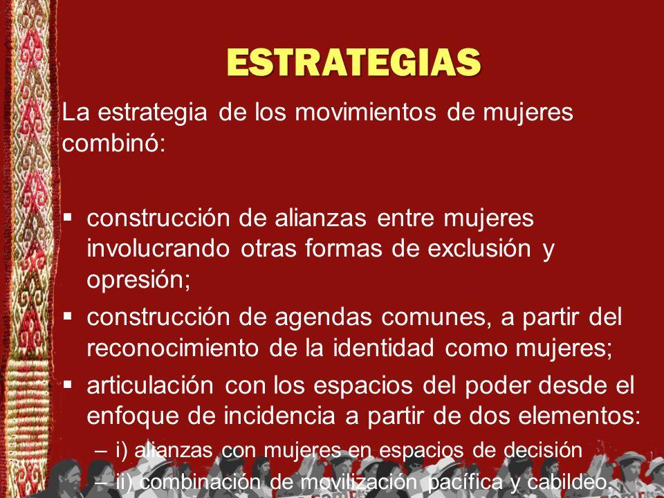 ESTRATEGIAS La estrategia de los movimientos de mujeres combinó: