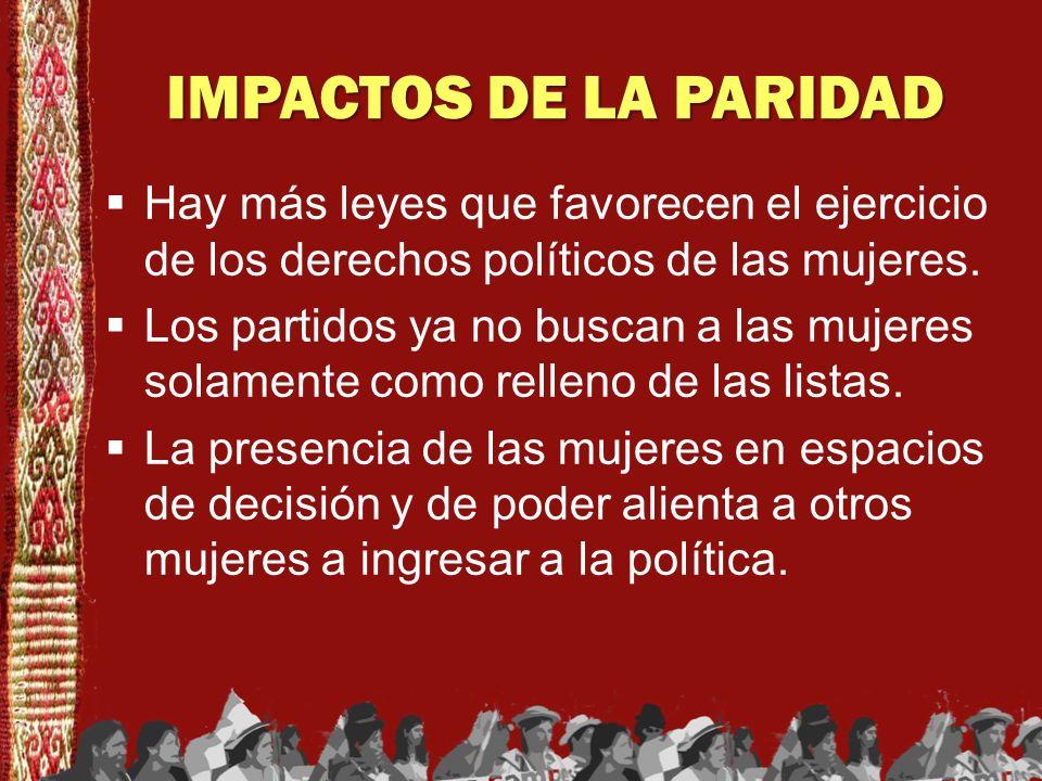 IMPACTOS DE LA PARIDADHay más leyes que favorecen el ejercicio de los derechos políticos de las mujeres.