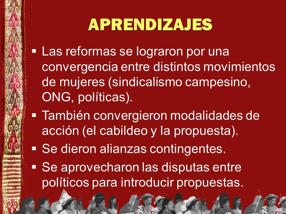 APRENDIZAJESLas reformas se lograron por una convergencia entre distintos movimientos de mujeres (sindicalismo campesino, ONG, políticas).