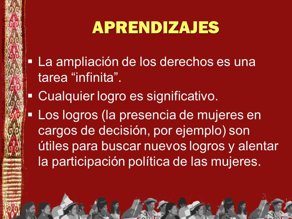 APRENDIZAJES La ampliación de los derechos es una tarea infinita .