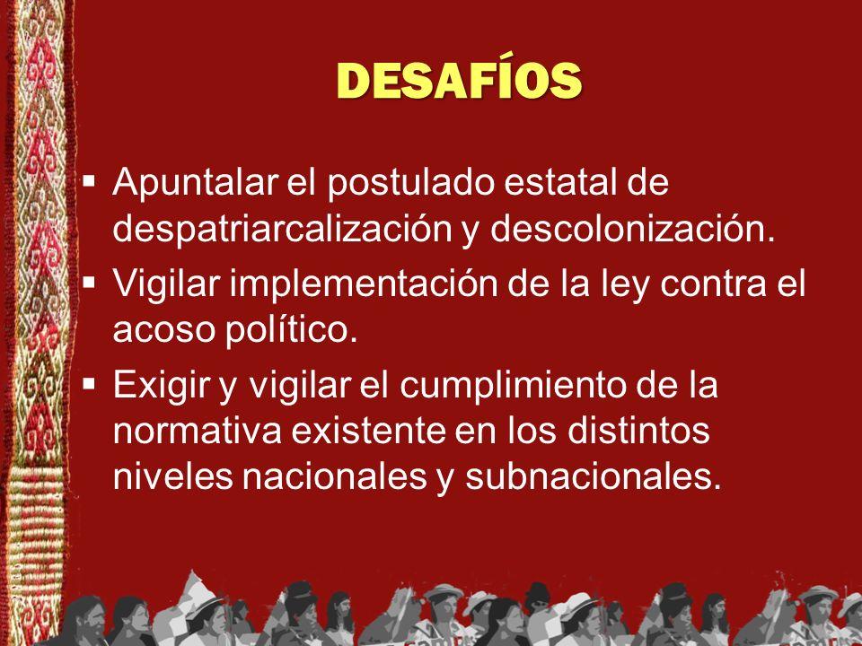 DESAFÍOSApuntalar el postulado estatal de despatriarcalización y descolonización. Vigilar implementación de la ley contra el acoso político.