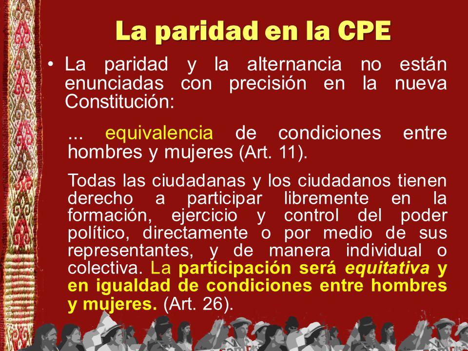 La paridad en la CPE La paridad y la alternancia no están enunciadas con precisión en la nueva Constitución: