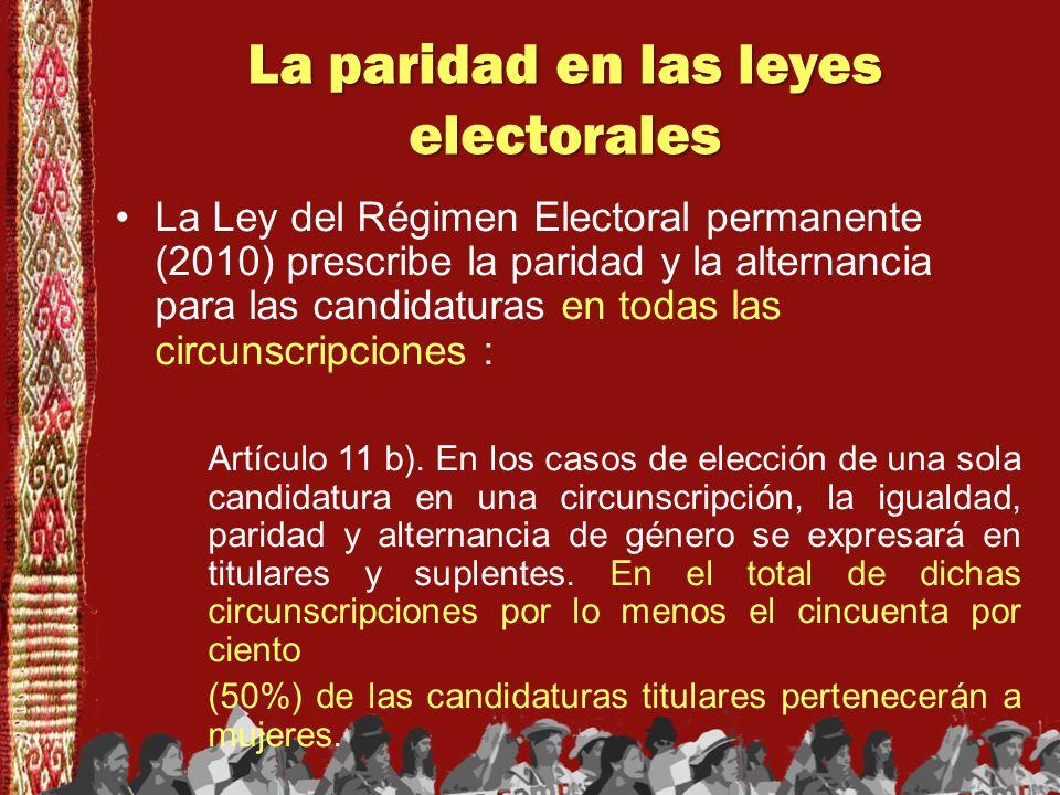 La paridad en las leyes electorales