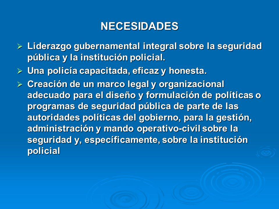 NECESIDADES Liderazgo gubernamental integral sobre la seguridad pública y la institución policial. Una policía capacitada, eficaz y honesta.