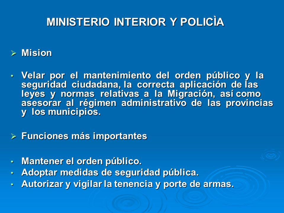 MINISTERIO INTERIOR Y POLICÌA
