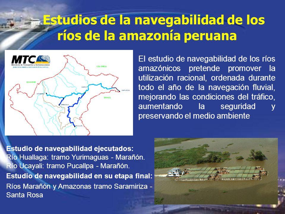 Estudios de la navegabilidad de los ríos de la amazonía peruana