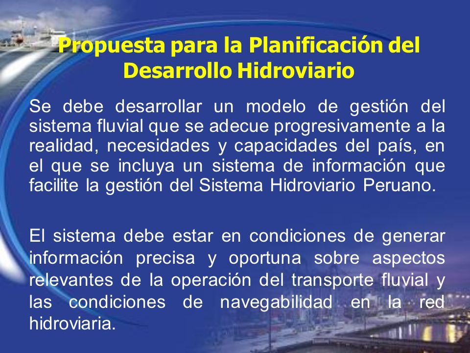 Propuesta para la Planificación del Desarrollo Hidroviario