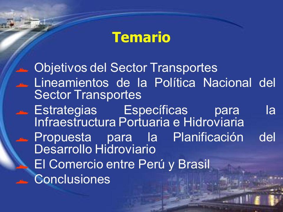 Temario Objetivos del Sector Transportes