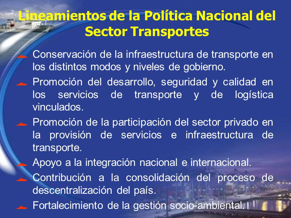 Lineamientos de la Política Nacional del Sector Transportes