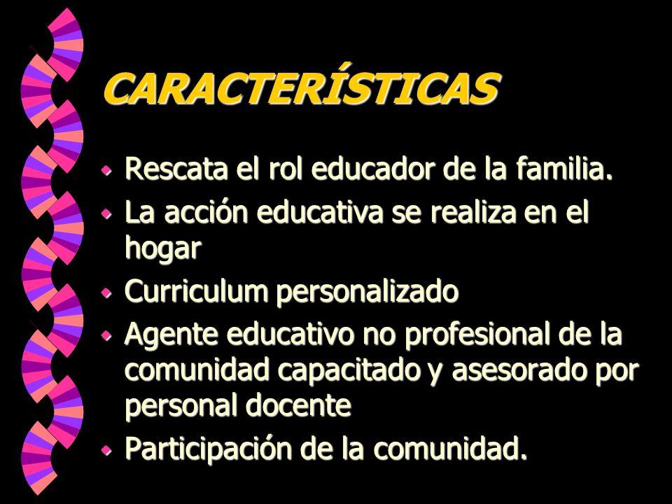 CARACTERÍSTICAS Rescata el rol educador de la familia.