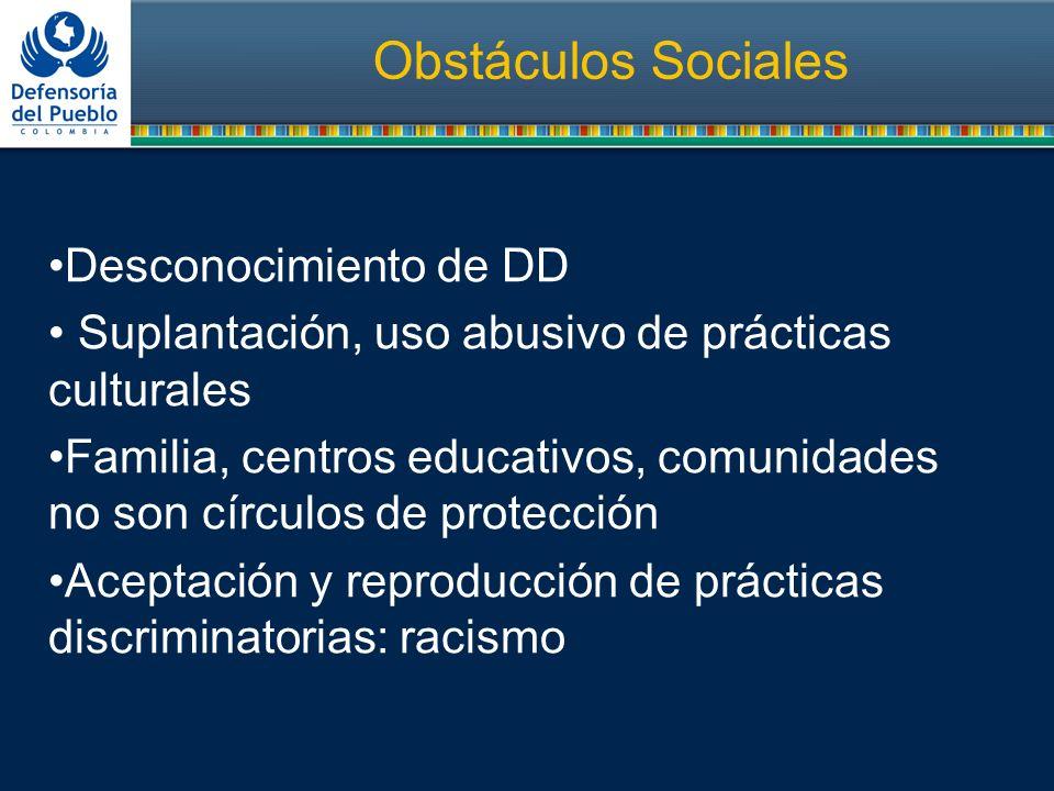 Obstáculos Sociales Desconocimiento de DD