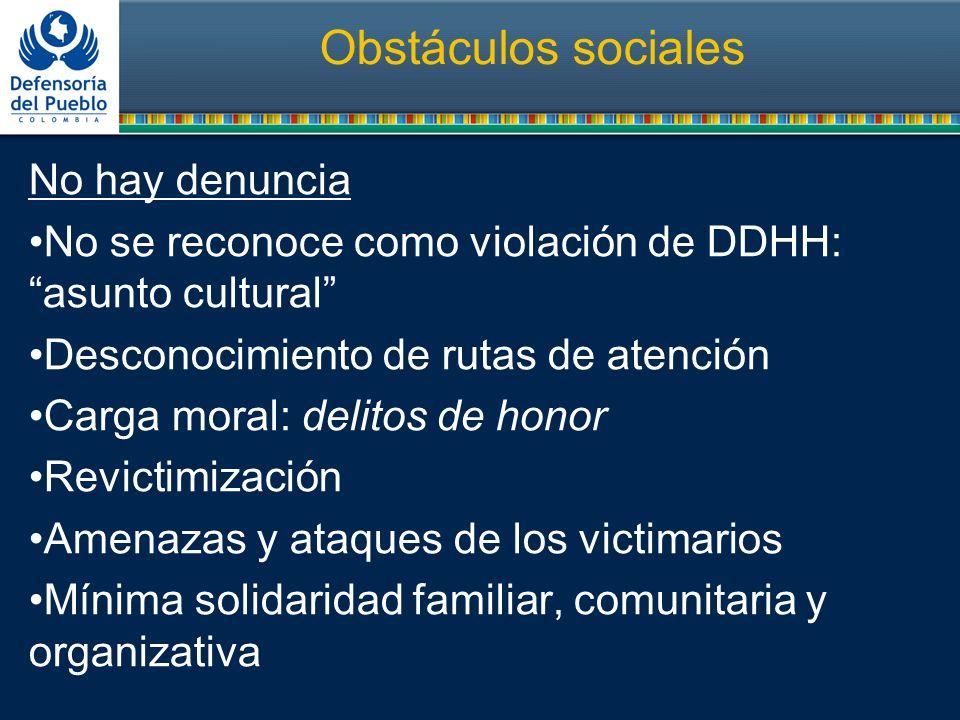 Obstáculos sociales No hay denuncia