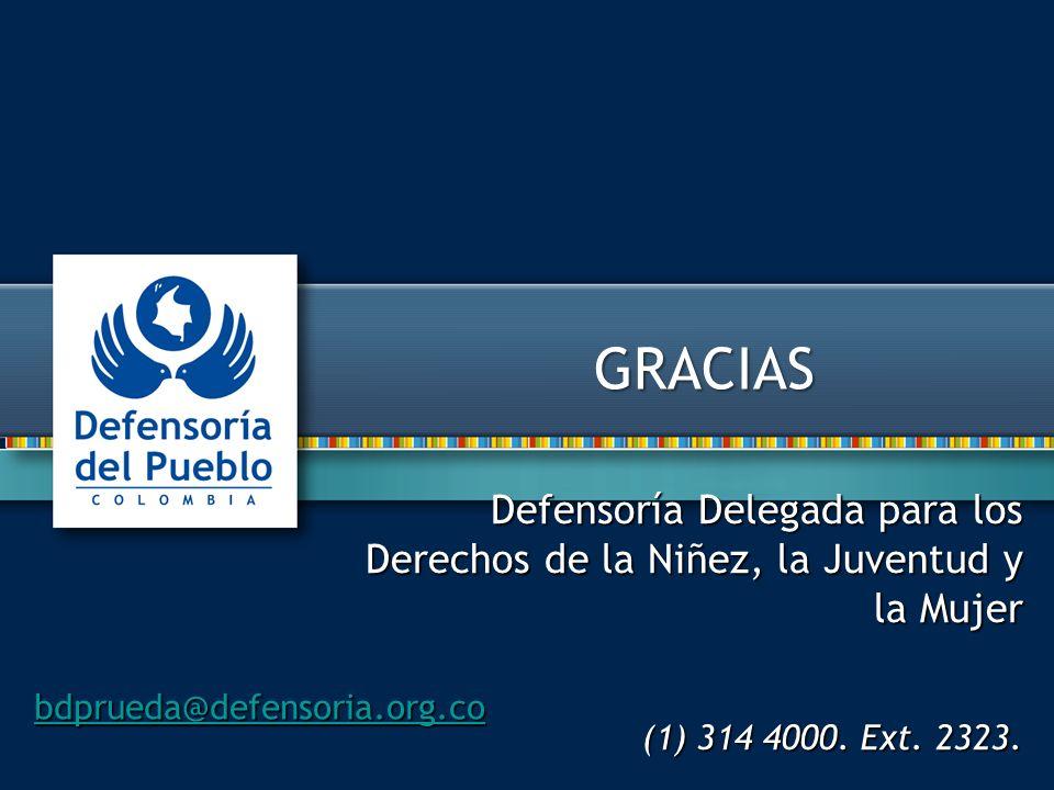 GRACIAS Defensoría Delegada para los Derechos de la Niñez, la Juventud y la Mujer. (1) 314 4000. Ext. 2323.