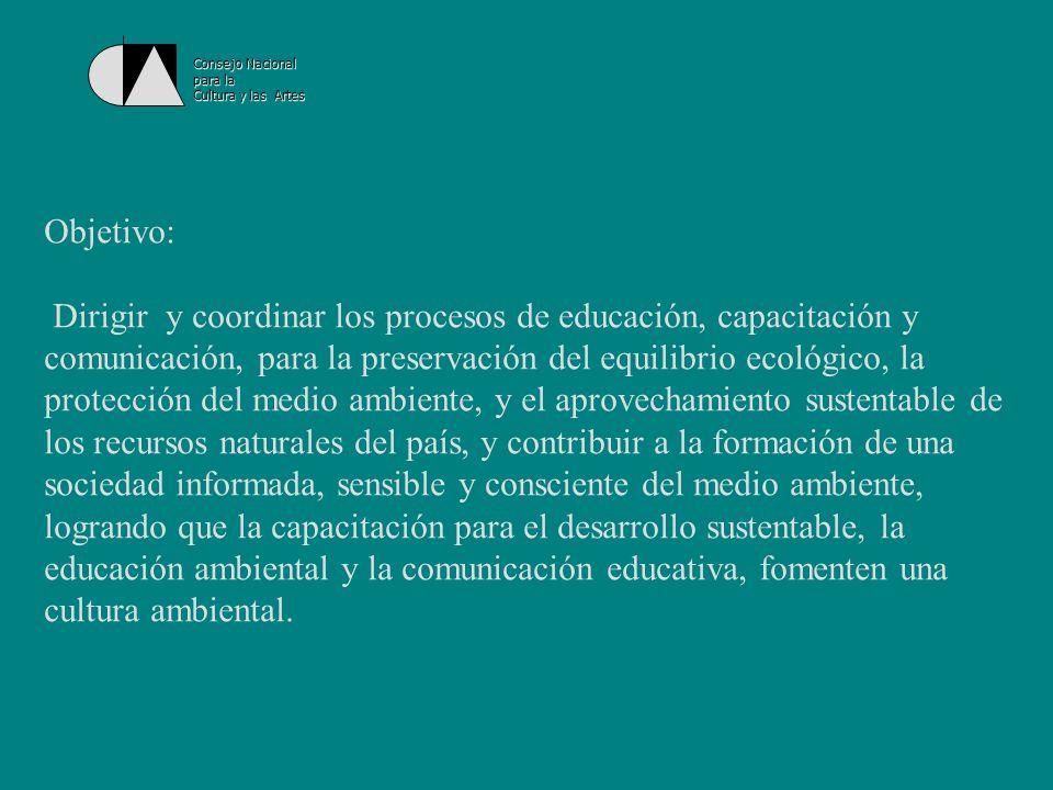 Consejo Nacional para la. Cultura y las Artes. Objetivo: