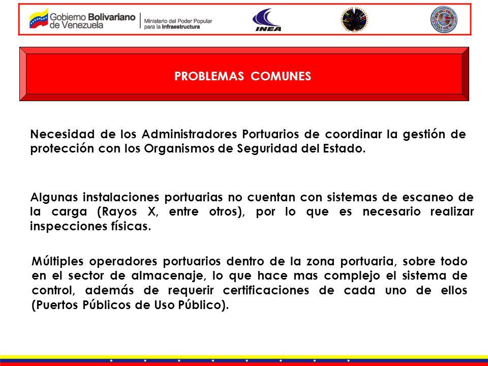 PROBLEMAS COMUNESNecesidad de los Administradores Portuarios de coordinar la gestión de protección con los Organismos de Seguridad del Estado.
