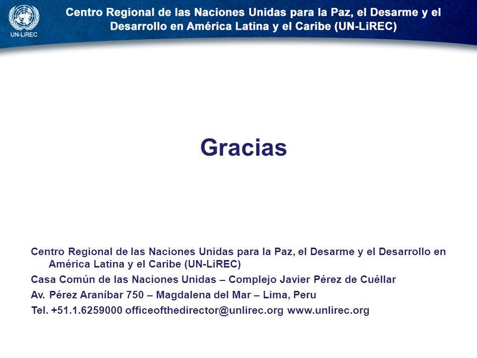 . Gracias. Centro Regional de las Naciones Unidas para la Paz, el Desarme y el Desarrollo en América Latina y el Caribe (UN-LiREC)