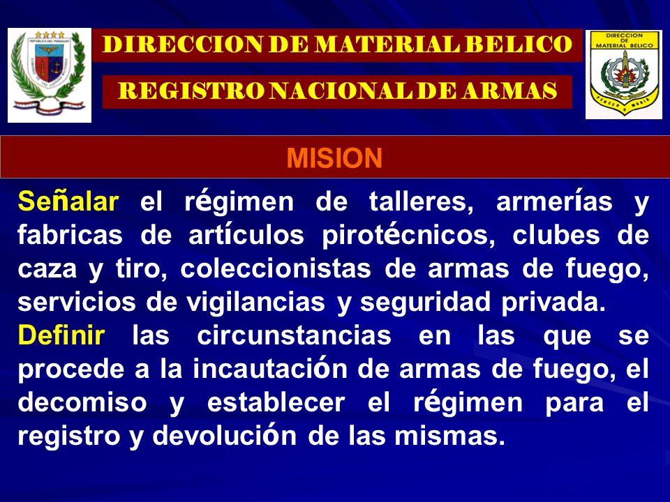 DIRECCION DE MATERIAL BELICO REGISTRO NACIONAL DE ARMAS