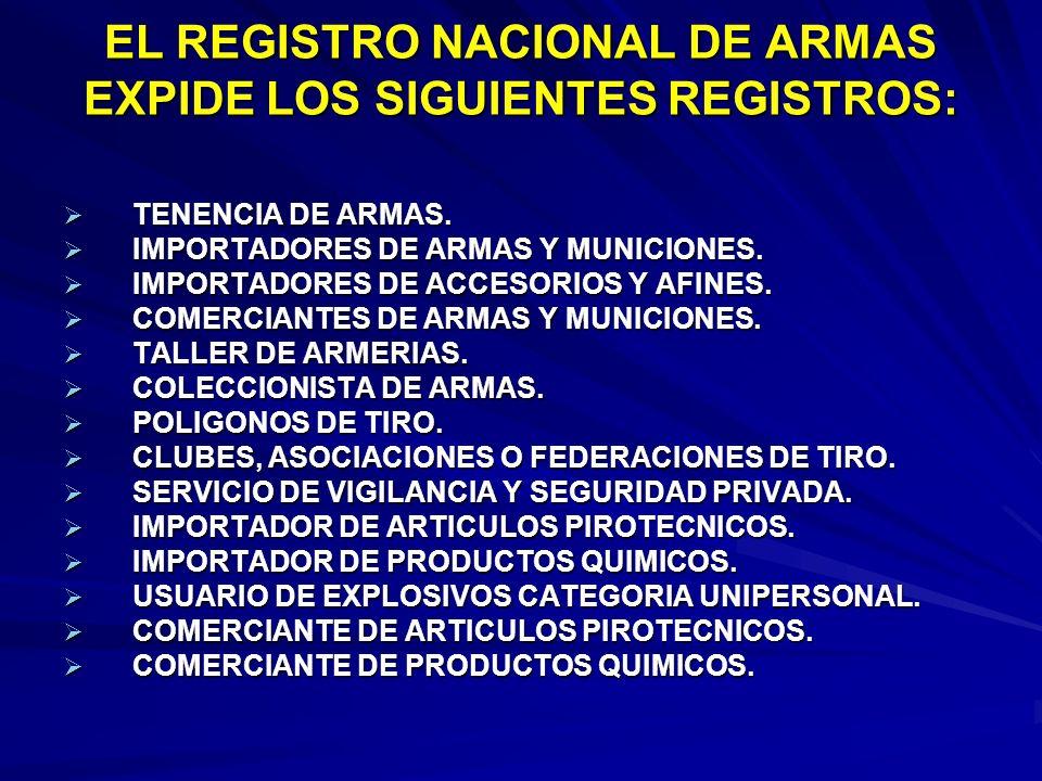 EL REGISTRO NACIONAL DE ARMAS EXPIDE LOS SIGUIENTES REGISTROS: