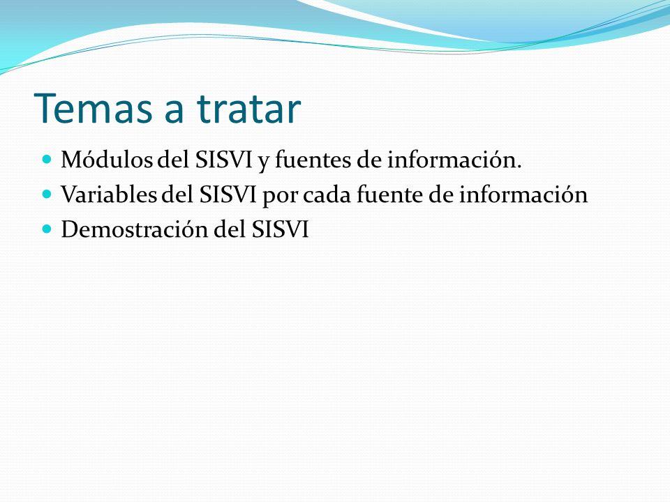 Temas a tratar Módulos del SISVI y fuentes de información.