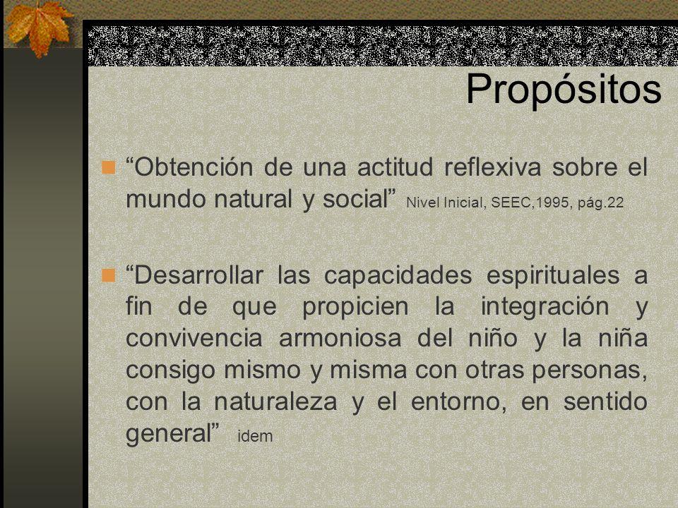 Propósitos Obtención de una actitud reflexiva sobre el mundo natural y social Nivel Inicial, SEEC,1995, pág.22.