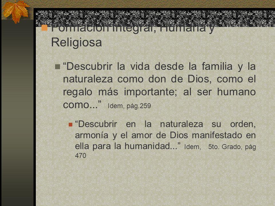 Formación Integral, Humana y Religiosa
