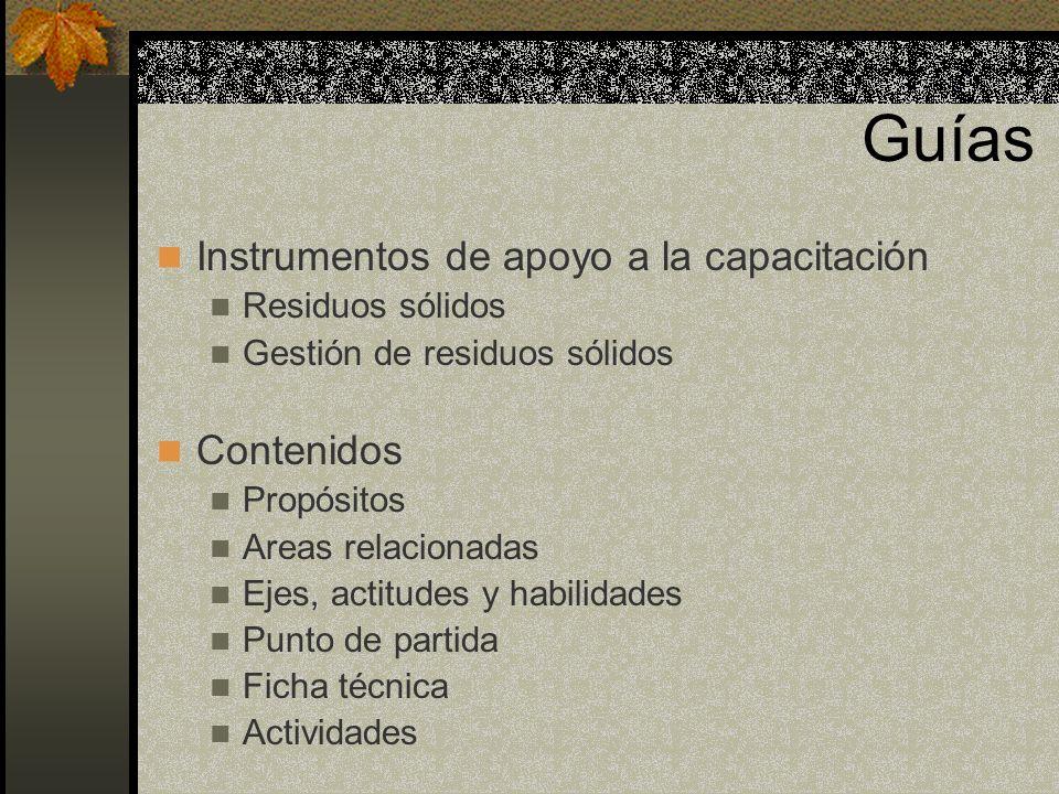 Guías Instrumentos de apoyo a la capacitación Contenidos