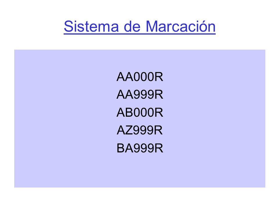 Sistema de Marcación AA000R AA999R AB000R AZ999R BA999R