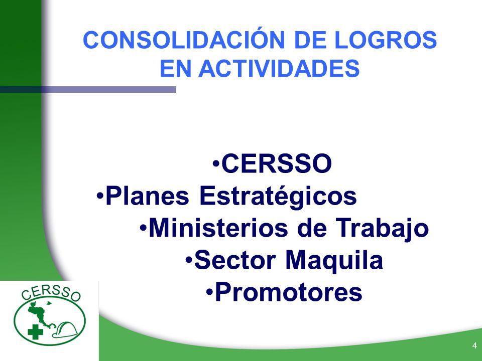CONSOLIDACIÓN DE LOGROS EN ACTIVIDADES Ministerios de Trabajo