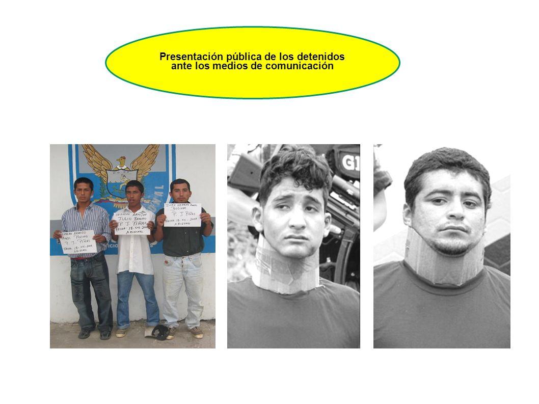 Presentación pública de los detenidos ante los medios de comunicación