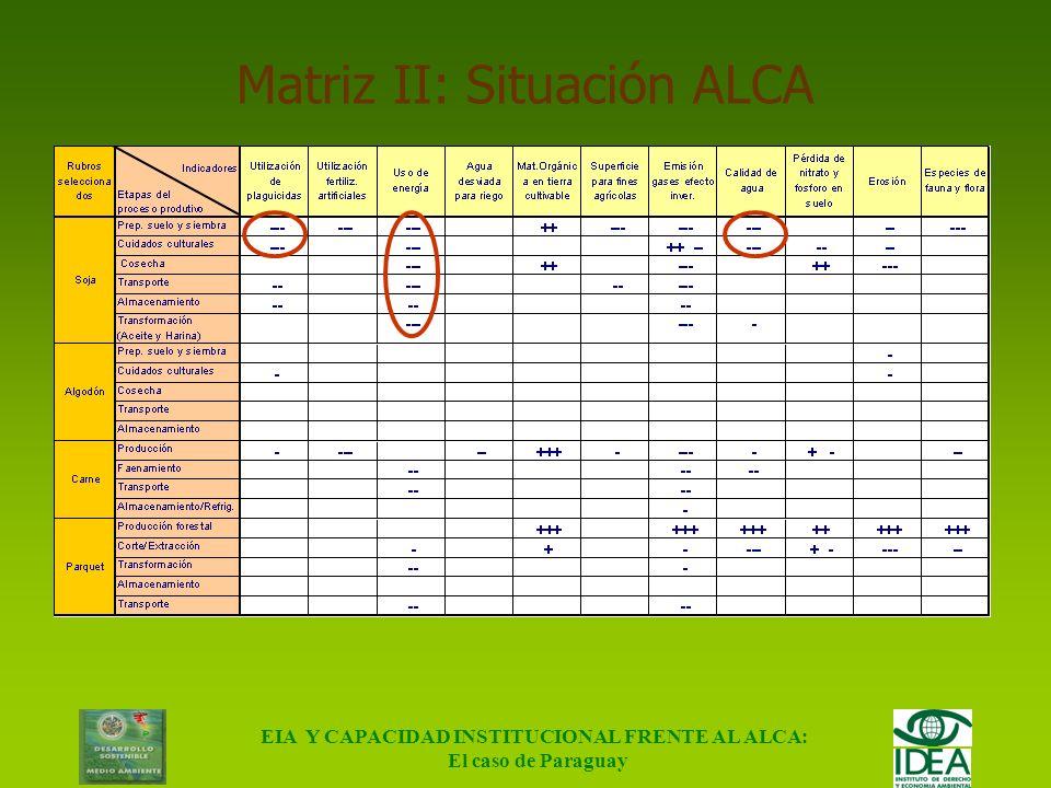 Matriz II: Situación ALCA
