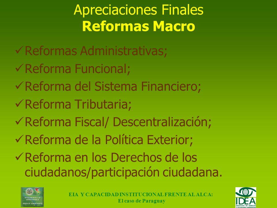 Apreciaciones Finales Reformas Macro