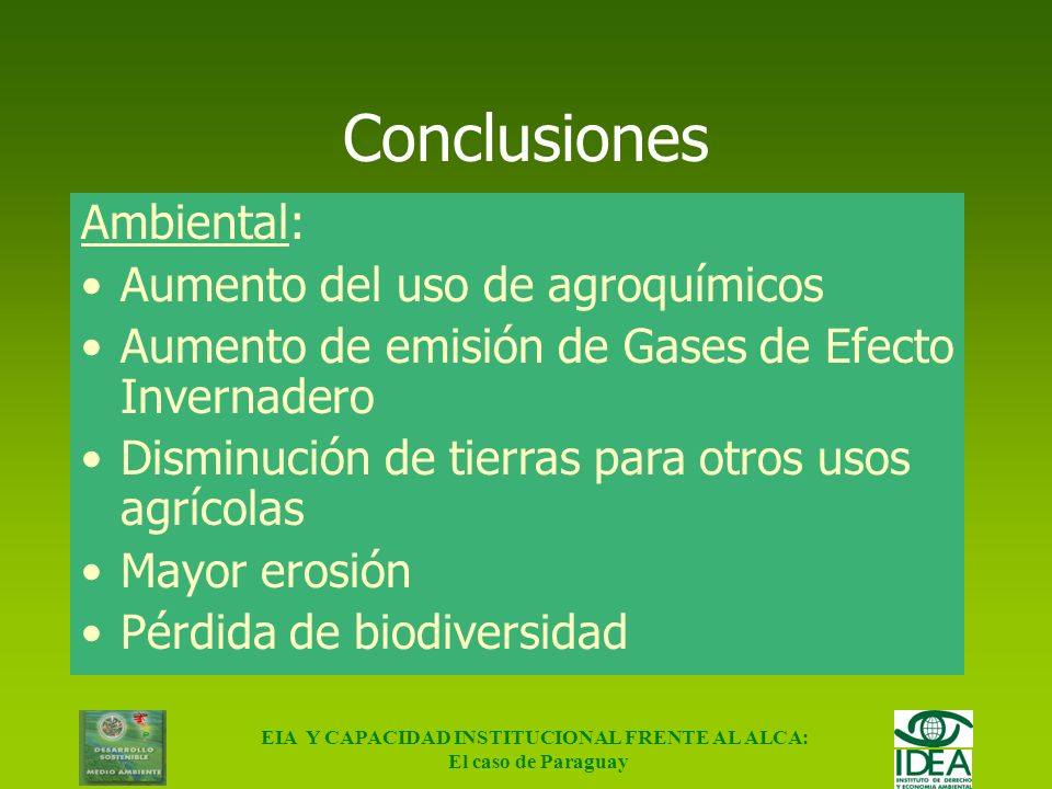 EIA Y CAPACIDAD INSTITUCIONAL FRENTE AL ALCA:
