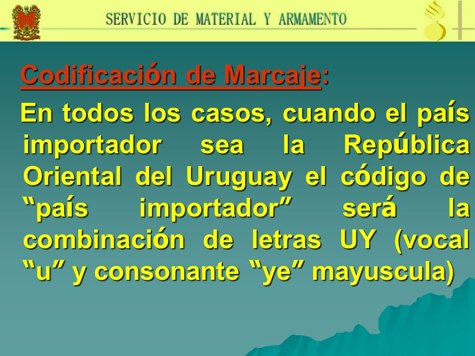 Codificación de Marcaje: